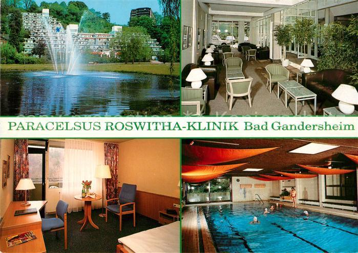 AK / Ansichtskarte Gandersheim Bad Schwimmbad Fontaine Roswitha Klinik Kat. Bad Gandersheim