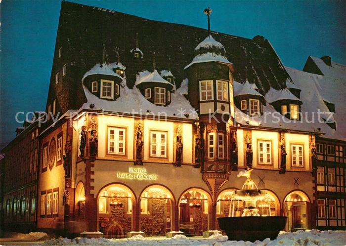 AK / Ansichtskarte Goslar Hotel Kaiserwerth Winteraufnahme Brunnen Kat. Goslar
