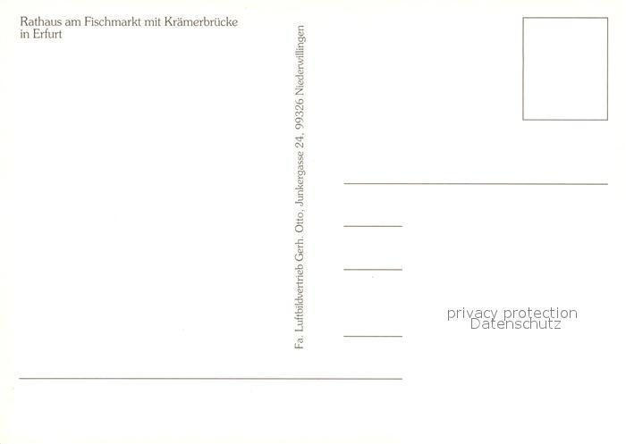 AK / Ansichtskarte Erfurt Fliegeraufnahme Fliegeraufnahme Fischmarkt Kraemerbruecke Kat. Erfurt 1