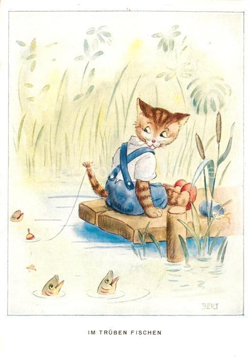 AK / Ansichtskarte Vermenschlicht Katze Angeln Fische  Kat. Kuenstlerkarte