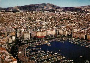 AK / Ansichtskarte Marseille Bouches du Rhone Vue aerienne du Vieux Port et le quai des Belges