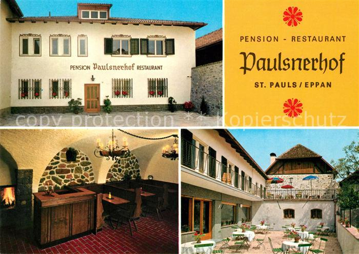 Ak Ansichtskarte Eppan Suedtirol Restaurant Paulsnerhof Terrasse