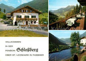 AK / Ansichtskarte Leonhard Passeier St Pension Schlossberg Schwimmbad Kat. St Leonhard in Passeier Suedtirol