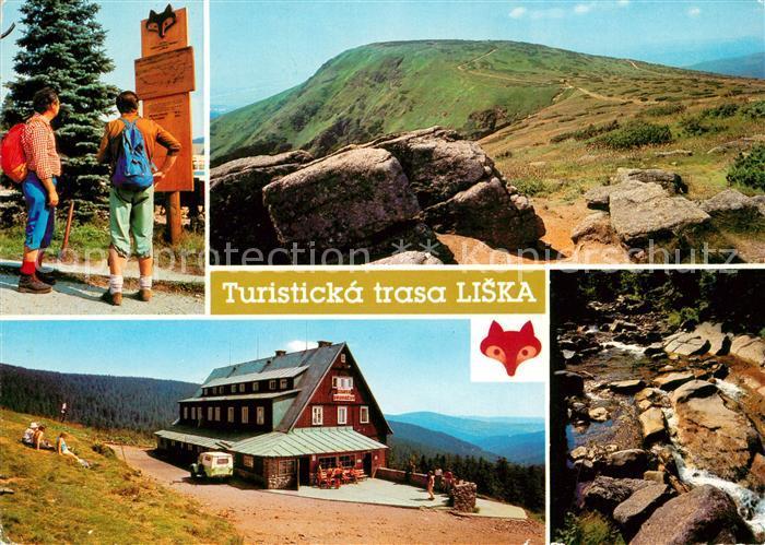 AK / Ansichtskarte Krkonose Harrachov Turisticka trasa liska Zapadni Krkonose Landschaftspanorama Wandern im Riesengebirge