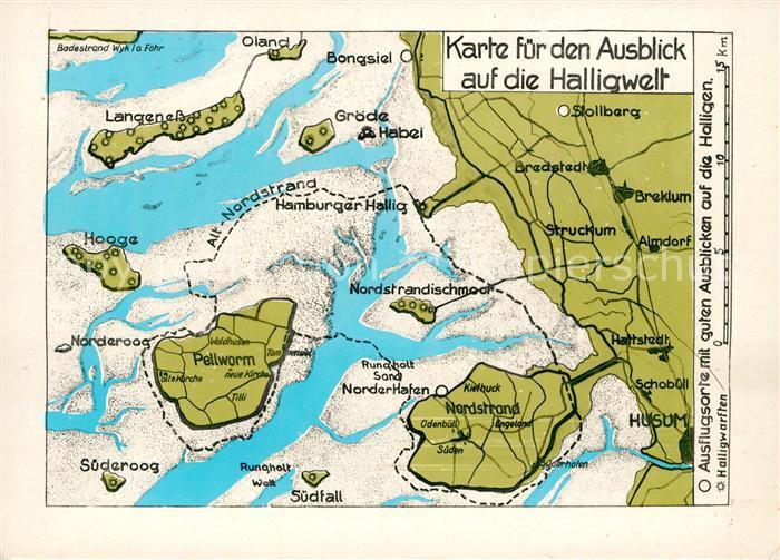 AK / Ansichtskarte Landkarte auf Ak Halligen Groede Bongsiel Hooge Suederoog Oland  Kat. Besonderheiten