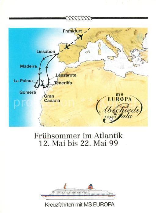 Frankfurt Karte Europa.Ak Ansichtskarte Schiffe Ships Navires Ms Europa Landkarte Atlantik Frankfurt Lanzarote Gomera Lissabon