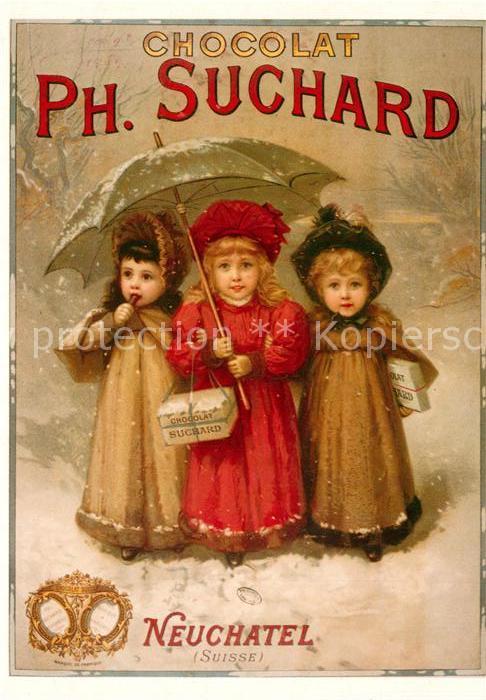 AK / Ansichtskarte Schokolade Chocolat Suchard Neuchatel Maedchen Regenschirm  Kat. Werbung