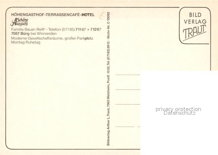 Ak Ansichtskarte Buerg Winnenden Hoehengasthof Terrassencafe Hotel Schoene Aussicht Buerg Winnenden Kat Winnenden
