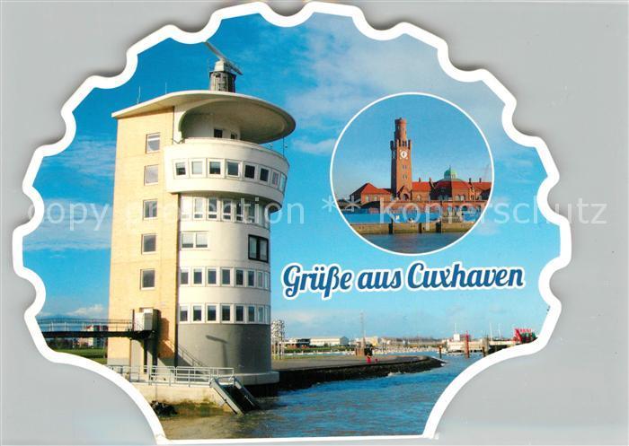 AK / Ansichtskarte Cuxhaven Nordseebad Muschelform Hafen Leuchtturm Cuxhaven Nordseebad Kat. Cuxhaven