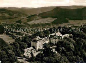 AK / Ansichtskarte Laasphe Fliegeraufnahme mit Schloss Wittgenstein Laasphe Kat. Bad Laasphe