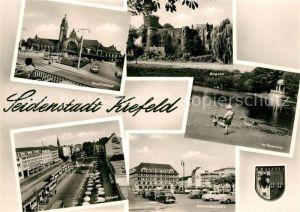 AK / Ansichtskarte Krefeld Hauptbahnhof Ostwall Burg Linn Stadtwald Schwanenteich Bahnhofsvorplatz Wappen Krefeld Kat. Krefeld