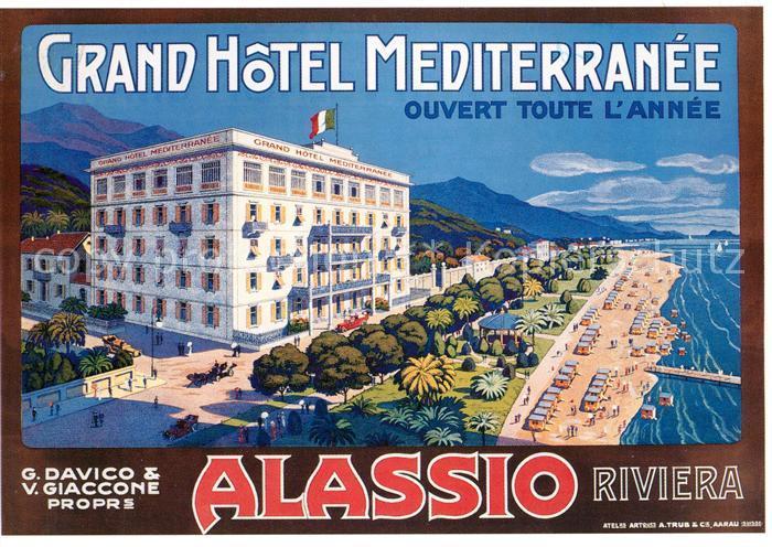 Ak Ansichtskarte Alassio Grand Hotel Mediterranee Alassio Kat