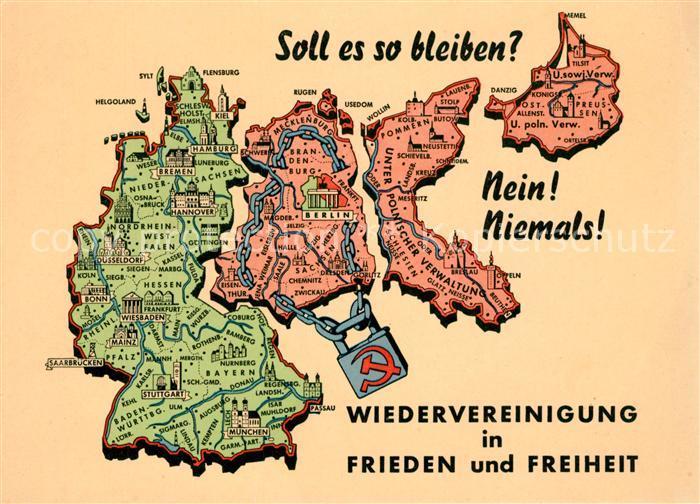 AK / Ansichtskarte Politik Deutschland Wiedervereinigung Landkarte  / Politik