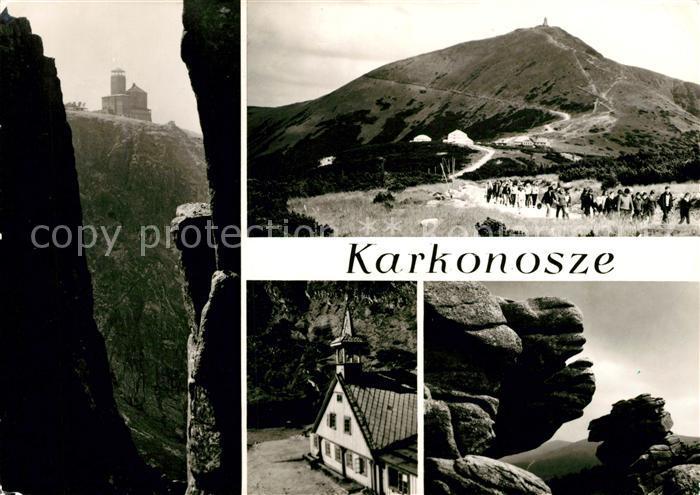 AK / Ansichtskarte Karkonosze Schronisko PTTK Nad Snieznymi Kotlami Landschaftspanorama Riesengebirge Felsen Wandern Karkonosze Kat. Polen