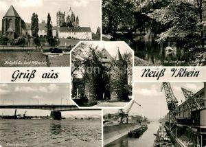 AK / Ansichtskarte Neuss Zeughaus Muenster Obertor Stadtpark Schwanenteich Rheinbruecke Hafen Neuss Kat. Neuss