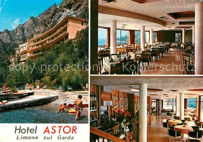 Ak Ansichtskarte Limone Sul Garda Hotel Astor Restaurant Strand
