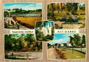 AK / Ansichtskarte Alt Garge Pension Meissner Waldbad Freibad Park Brunnen Kirche Bahnhof Alt Garge Kat. Bleckede