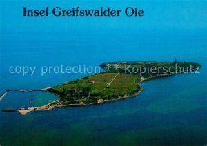 Greifswalder Oie Fliegeraufnahme Hafen Leuchtturm Greifswalder Oie
