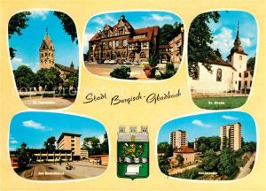 Bergisch Gladbach Kirche Rathaus Busbahnhof Hochhaeuser Wappen Bergisch Gladbach Kat. Bergisch Gladbach