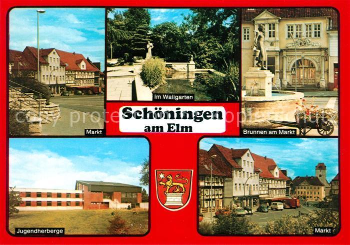 AK / Ansichtskarte Schoeningen Markt Jugendherberge Wallgarten Brunnen  Schoeningen Kat. Schoeningen
