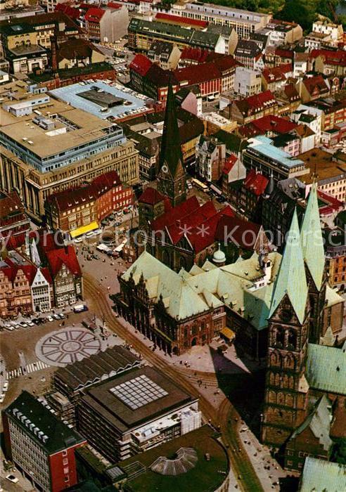 AK / Ansichtskarte Bremen Blick auf den Marktplatz Kirche Fliegeraufnahme Bremen Kat. Bremen