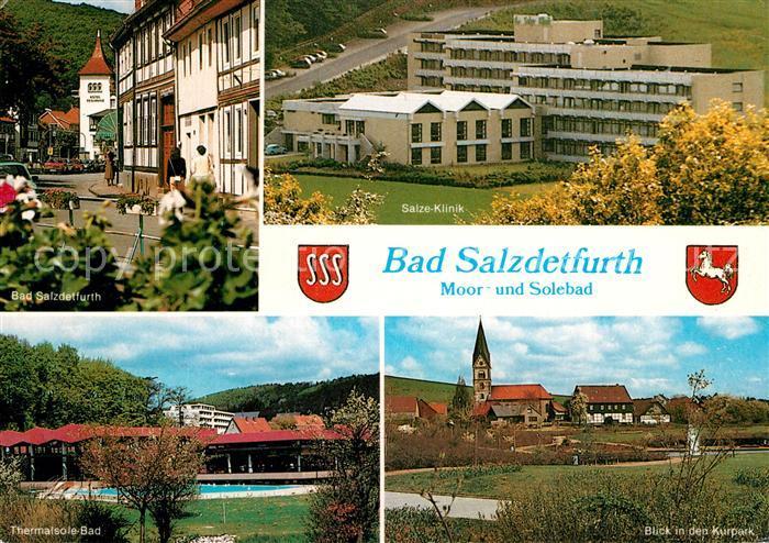 AK / Ansichtskarte Bad Salzdetfurth Moorbad Solebad Salze Klinik Thermalsolebad Kurpark Kirche Ortsmotiv Bad Salzdetfurth Kat. Bad Salzdetfurth
