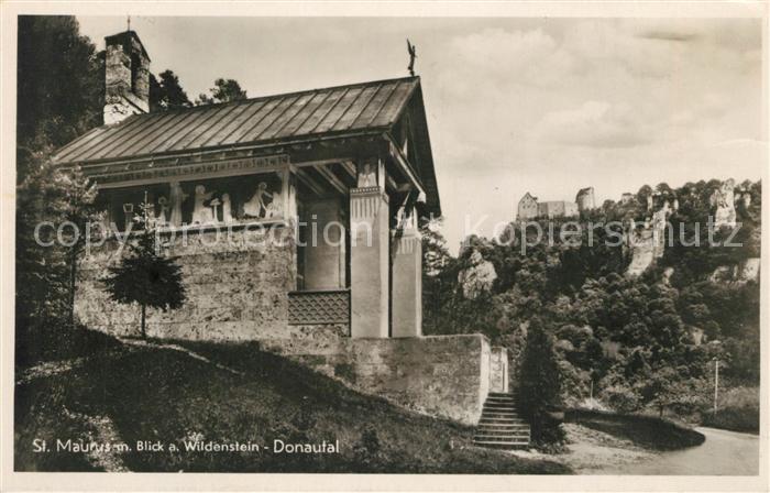 AK / Ansichtskarte Beuron Donautal St Maurus Kapelle mit Blick auf Burg Wildenstein Beuron Donautal Kat. Beuron