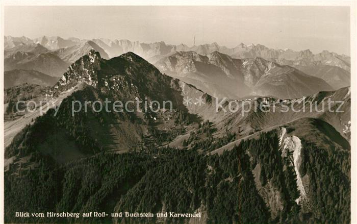 AK / Ansichtskarte Kreuth Bad Blick vom Hirschberg auf Ross und Buchstein mit Karwendel Kreuth Bad Kat. Kreuth