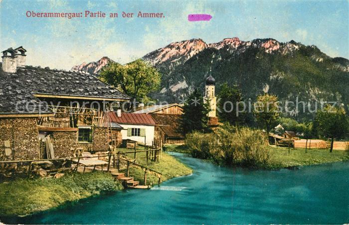 AK / Ansichtskarte Oberammergau Partie an der Ammer Oberammergau Kat. Oberammergau