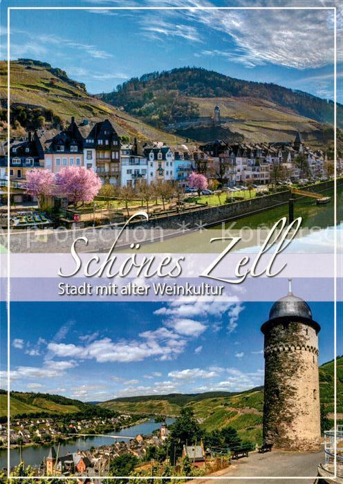 AK / Ansichtskarte Zell Mosel Stadtpanorama Turm Moseltal Weinberge Zell Mosel Kat. Zell (Mosel)
