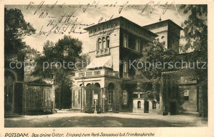 AK / Ansichtskarte Potsdam Gruenes Gitter Park Sanssouci bei der Friedenskirche Potsdam Kat. Potsdam