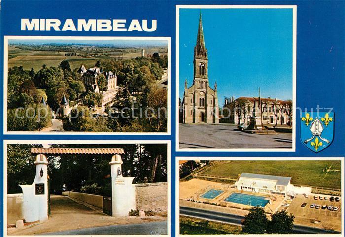 AK / Ansichtskarte Mirambeau_Charente Maritime Fliegeraufnahme Schwimmbad Schloss Mirambeau Kat. Mirambeau