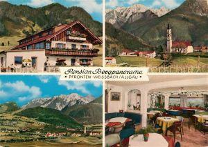 AK / Ansichtskarte Weissbach_Pfronten Gaststaette Pension Bergpanorama Kirche Allgaeuer Alpen Fliegeraufnahme Weissbach Pfronten Kat. Pfronten