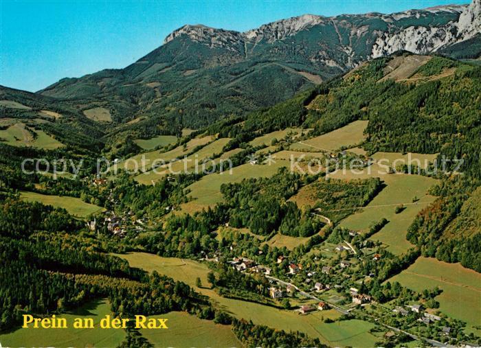 AK / Ansichtskarte Prein_Rax gegen Preiner Gscheid und Rax Heukuppe Rax Schneeberg Gruppe Fliegeraufnahme Prein Rax Kat. Reichenau an der Rax