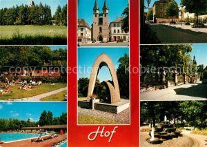 AK / Ansichtskarte Hof_Saale Schwimmbad Stadttor Denkmaeler  Hof_Saale Kat. Hof