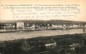 AK / Ansichtskarte Tarascon_Bouches du Rhone Le Pont Suspendu sur le Rhone Chateau du Roi Rene et le Clocher de Ste Marthe Tarascon Bouches du Rhone