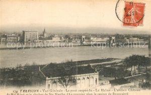 AK / Ansichtskarte Tarascon_Bouches du Rhone Vue generale Le pont suspendu Le Rhone Ancien Chateau du Roi Rene Tarascon Bouches du Rhone