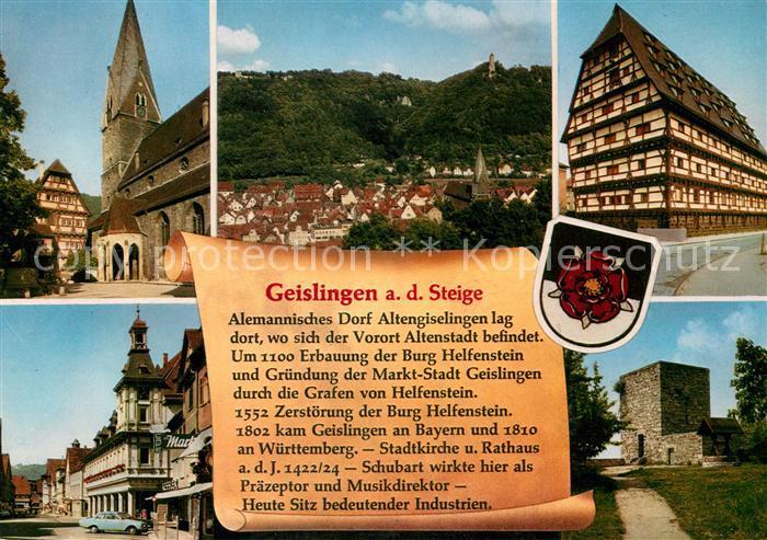 AK / Ansichtskarte Geislingen_Steige Pfarrhaus Kirche Stadtpanorama Alter Zoll Innenstadt Burgruine Helfenstein Chronik Wappen Geislingen Steige Kat. Geislingen an der Steige