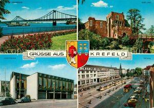 AK / Ansichtskarte Krefeld Rheinbruecke Promenade Burg Linn Stadttheater Ostwall Wappen Krefeld Kat. Krefeld