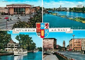 AK / Ansichtskarte Muelheim_Ruhr Stadthalle Schlossbruecke Wasserbahnhof Ausflugsdampfer City Wappen Muelheim Ruhr Kat. Muelheim an der Ruhr