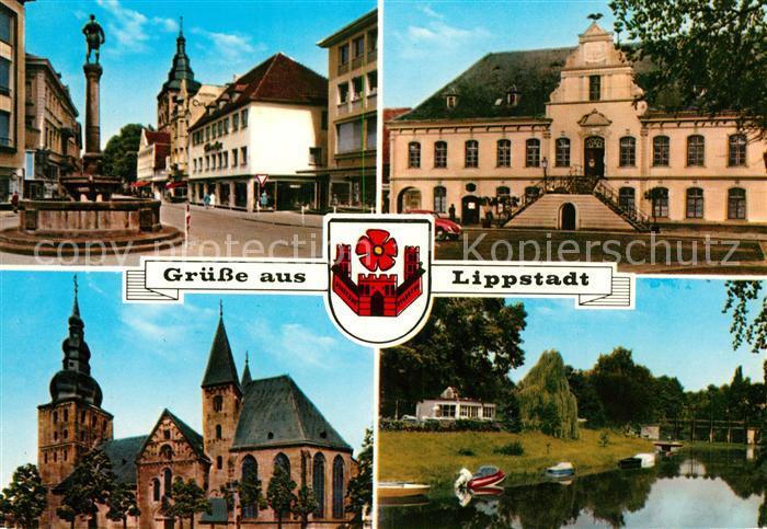 AK / Ansichtskarte Lippstadt Brunnen Rathaus Kirche Partie am Fluss Wappen Lippstadt Kat. Lippstadt