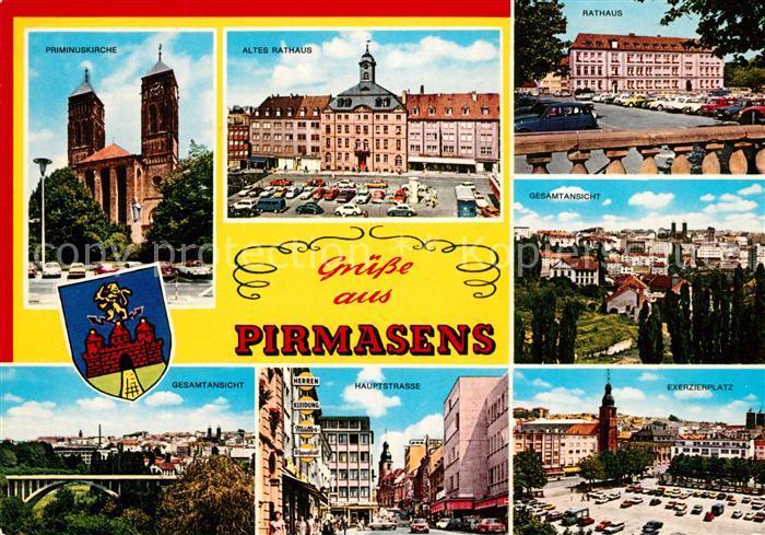AK / Ansichtskarte Pirmasens Priminuskirche Rathaus Gesamtansicht Hauptstrasse Exerzierplatz Pirmasens Kat. Pirmasens