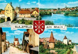 AK / Ansichtskarte Sulzfeld_Main Maintor Altstadt Turm Wohnturm Mainufer Wappen Sulzfeld Main Kat. Sulzfeld a.Main