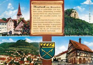 AK / Ansichtskarte Heubach_Wuerttemberg St Ulrichskirche Blockturm Ruine Rosenstein Fernsehturm Rathaus Chronik Wappen Heubach Wuerttemberg Kat. Heubach