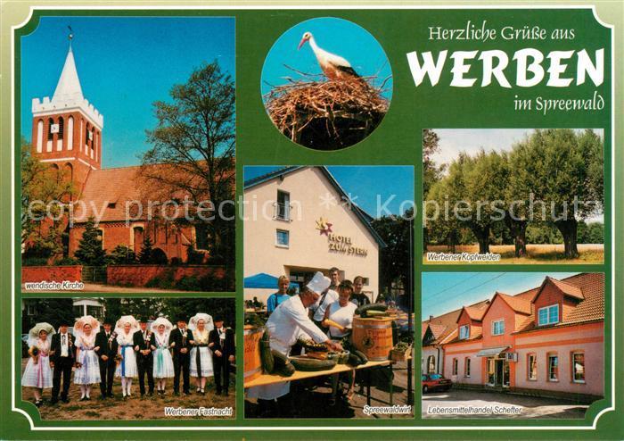 AK / Ansichtskarte Werben_Niederlausitz Wendische Kirche Fastnacht Spreewaldwirt Werben_Niederlausitz Kat. Werben Niederlausitz