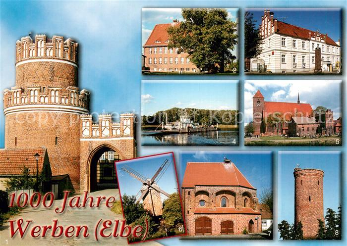 AK / Ansichtskarte Werben_Elbe Elbtor Grundschule Rathaus Elbfaehre Stadtkirche Bockwindmuehle Werben Elbe Kat. Werben Elbe