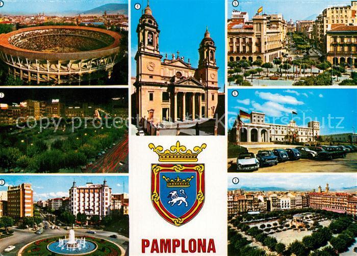 AK / Ansichtskarte Pamplona_Navarra Plaza de Toros Plaza de Castillo Universidad Pamplona Navarra Kat. Pamplona