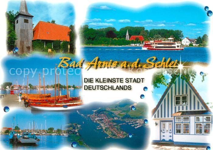 AK / Ansichtskarte Bad_Arnis_Schlei Kirche Hafen Segelboote Faehre Dampfer Fliegeraufnahme Bad_Arnis_Schlei