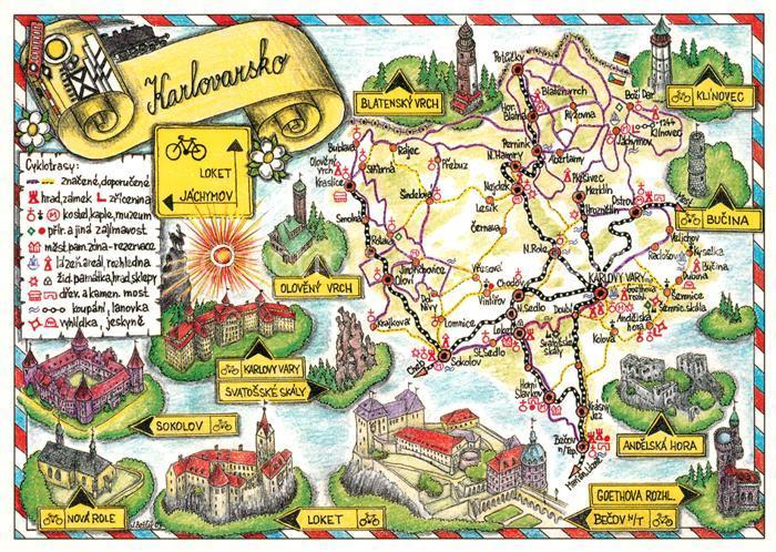 AK / Ansichtskarte Karlovy_Vary und Umgebung mit Sehenswuerdigkeiten Landkarte Karlovy Vary Kat. Karlovy Vary_Karlsbad