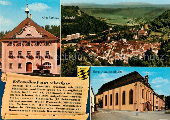 AK / Ansichtskarte Oberndorf_Neckar Altes Rathaus Ehem. Augustinerkloster Panorama Chronik Wappen Oberndorf Neckar Kat. Oberndorf am Neckar